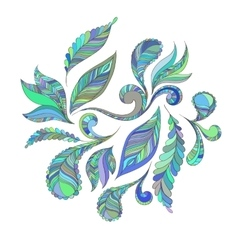 Set blue feathers vector image vector image