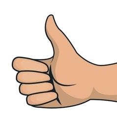 thumb up symbol line black gesture front design vector image