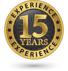 15 years experience gold label vector image vector image