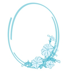 blue oval frame with flowers vector image
