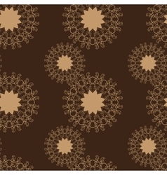 Brown Stylized flowers seamless abstract vector image