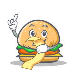 burger character fast food with menu vector image