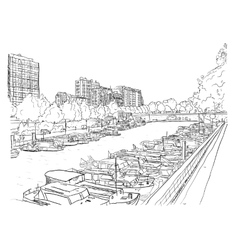 Embankment of the river with the ships vector image