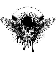 skull in goggles and helmet on grunge splash vector image vector image