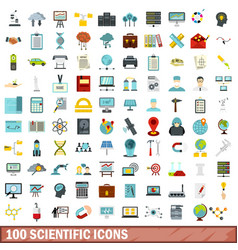 100 scientific icons set flat style vector image