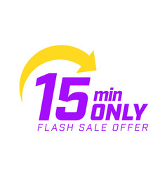 15 min only flash sale offer banner with arrow vector