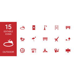 15 outdoor icons vector image