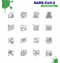 16 line viral virus corona icon pack vector image
