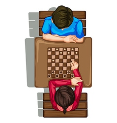 A topview of two people playing a boardgame vector image