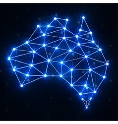 Abstract polygonal Australia map with glowing dots vector image