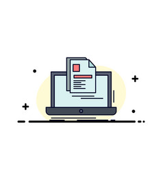 Account laptop report print resume flat color icon vector