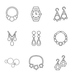 adamantine icons set outline style vector image