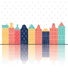 amterdam houses reflection pastel color vector image