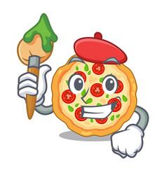 Artist margherita pizza in a cartoon oven vector