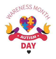 autism day isolated icon heart jigsaw vector image