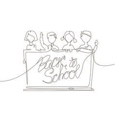 back to school - one line design style vector image