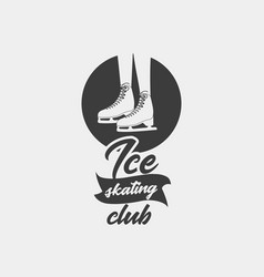badge template with ice skates vector image