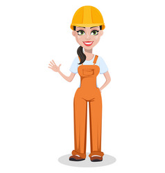 Beautiful female builder in uniform vector