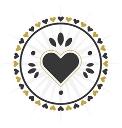 Black and golden circle heart border icon vector