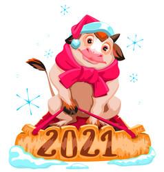 bull symbol 2021 christmas cow in santa hat vector image