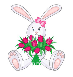 bunny with bouquet tulips vector image