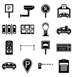 Car parking icons set simple style vector
