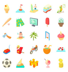 Carefree life icons set cartoon style vector