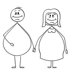 cartoon obese or overweight heterosexual vector image