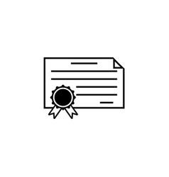 Certificate diploma line icon education school vector
