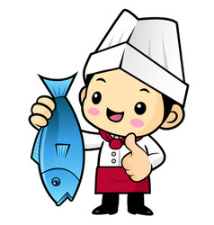 Chef character and best fish isolated on white vector