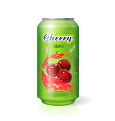 cherry cola in aluminum can isolated vector image