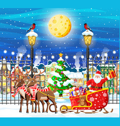 christmas card with urban landscape and snowfall vector image