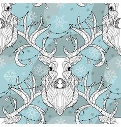 Christmas deer head doodle with lighting bulb vector image