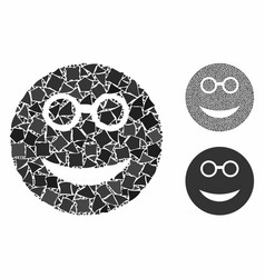 Clever smiley mosaic icon humpy items vector