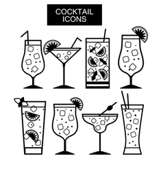 Cocktail icons Cocktail menu vector