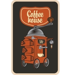 coffee grinder in a retro style vector image