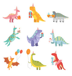 Collection of cute dinosaurs in party hats with vector