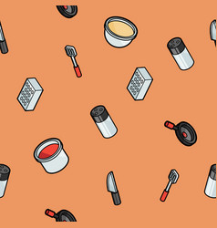 cooking color outline isometric pattern vector image