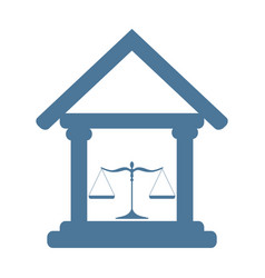 Court building icon with scales of justice vector