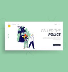 Criminal thief stealing money website landing page vector