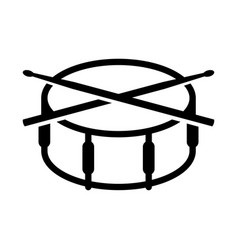 crossed drumsticks on a snare drum icon drum vector image