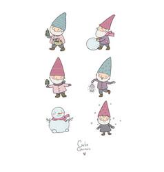 cute cartoon gnomes new year set christmas elves vector image