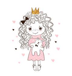 Cute little girl hugs teddy bear doodle vector