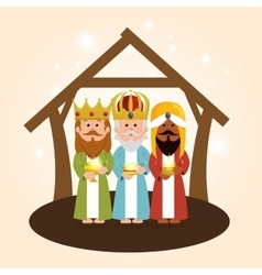 Cute three wise kings manger vector
