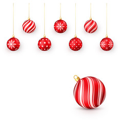 decorative red christmas balls set isolated on vector image