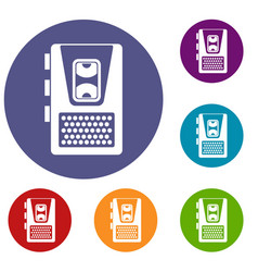 dictaphone icons set vector image