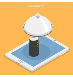 Dish delivery flat isometric vector image