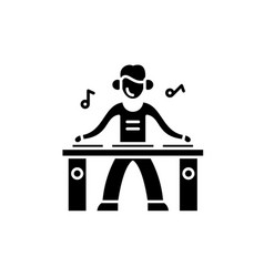 Dj black icon sign on isolated background vector