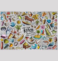 doodle cartoon set summer beach theme vector image