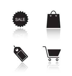 E-commerce drop shadow icons set vector image